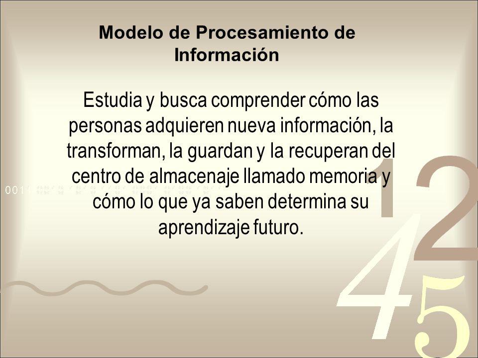 Modelo de Procesamiento de Información Estudia y busca comprender cómo las personas adquieren nueva información, la transforman, la guardan y la recup