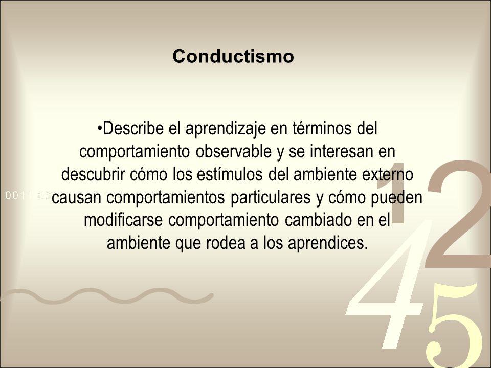 Conductismo Describe el aprendizaje en términos del comportamiento observable y se interesan en descubrir cómo los estímulos del ambiente externo caus