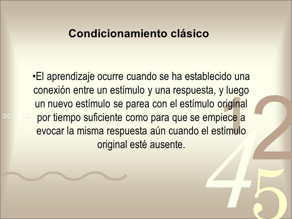 Condicionamiento clásico El aprendizaje ocurre cuando se ha establecido una conexión entre un estímulo y una respuesta, y luego un nuevo estímulo se p