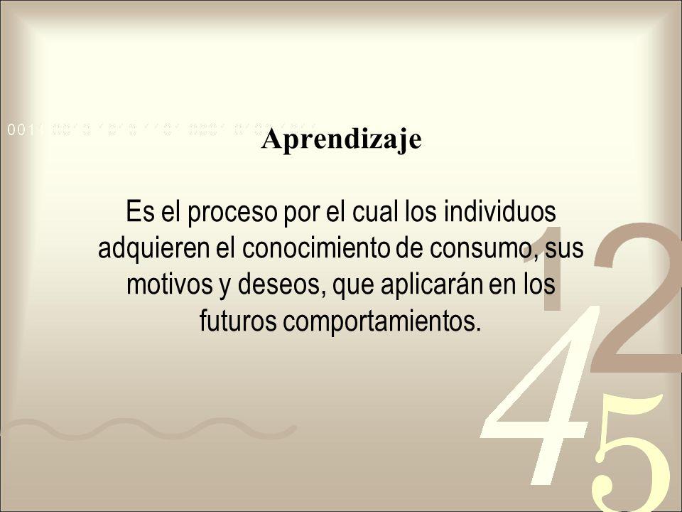 Aprendizaje Es el proceso por el cual los individuos adquieren el conocimiento de consumo, sus motivos y deseos, que aplicarán en los futuros comporta