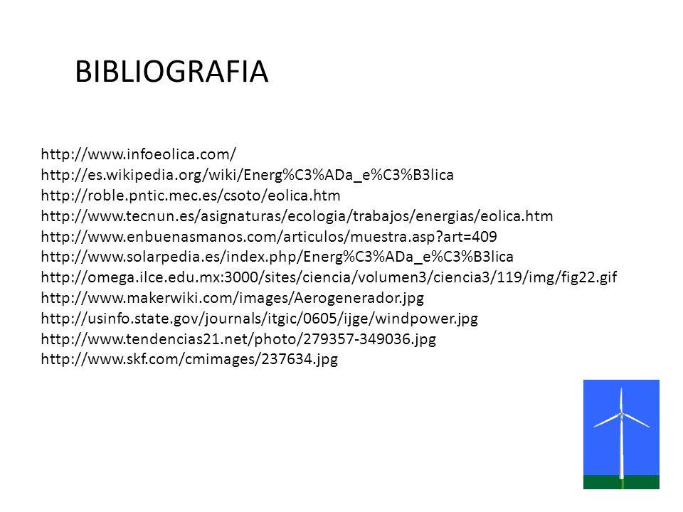 BIBLIOGRAFIA http://www.infoeolica.com/ http://es.wikipedia.org/wiki/Energ%C3%ADa_e%C3%B3lica http://roble.pntic.mec.es/csoto/eolica.htm http://www.te