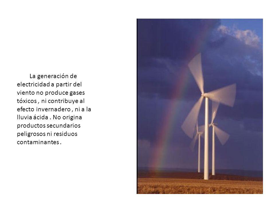 La generación de electricidad a partir del viento no produce gases tóxicos, ni contribuye al efecto invernadero, ni a la lluvia ácida. No origina prod