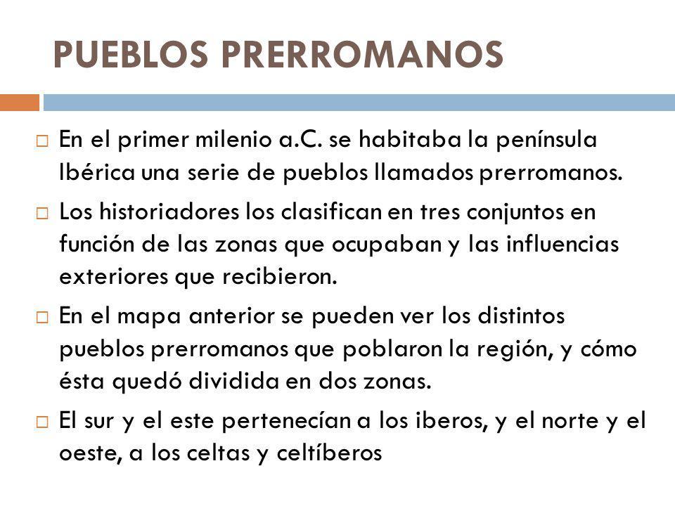 PUEBLOS PRERROMANOS En el primer milenio a.C. se habitaba la península Ibérica una serie de pueblos llamados prerromanos. Los historiadores los clasif