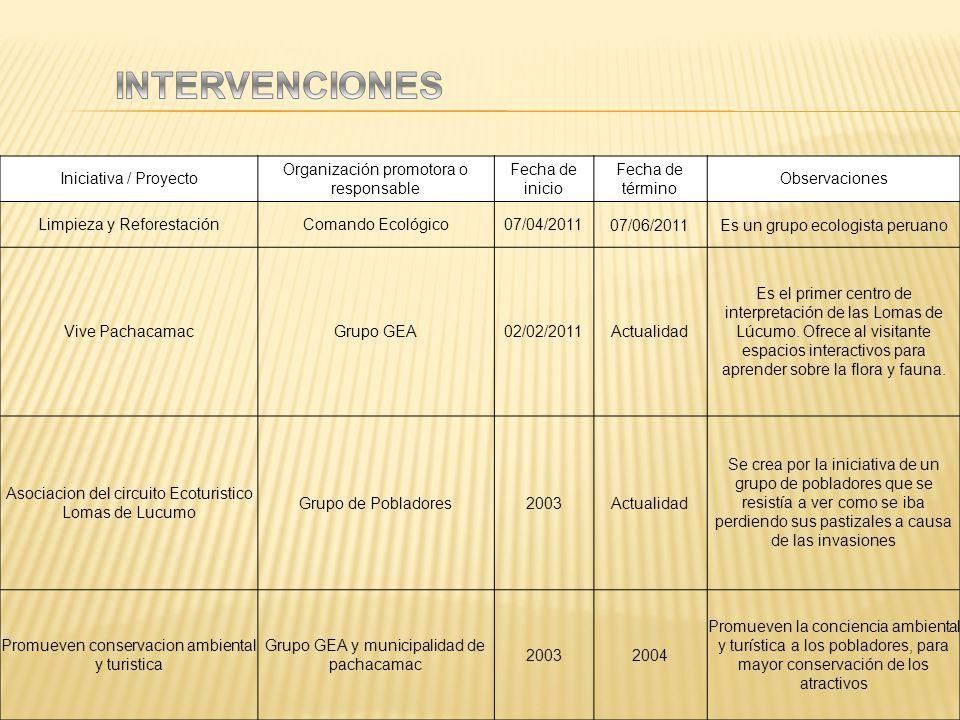 Iniciativa / Proyecto Organización promotora o responsable Fecha de inicio Fecha de término Observaciones Limpieza y ReforestaciónComando Ecológico07/