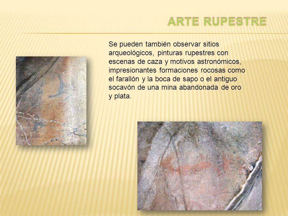 Se pueden también observar sitios arqueológicos, pinturas rupestres con escenas de caza y motivos astronómicos, impresionantes formaciones rocosas com