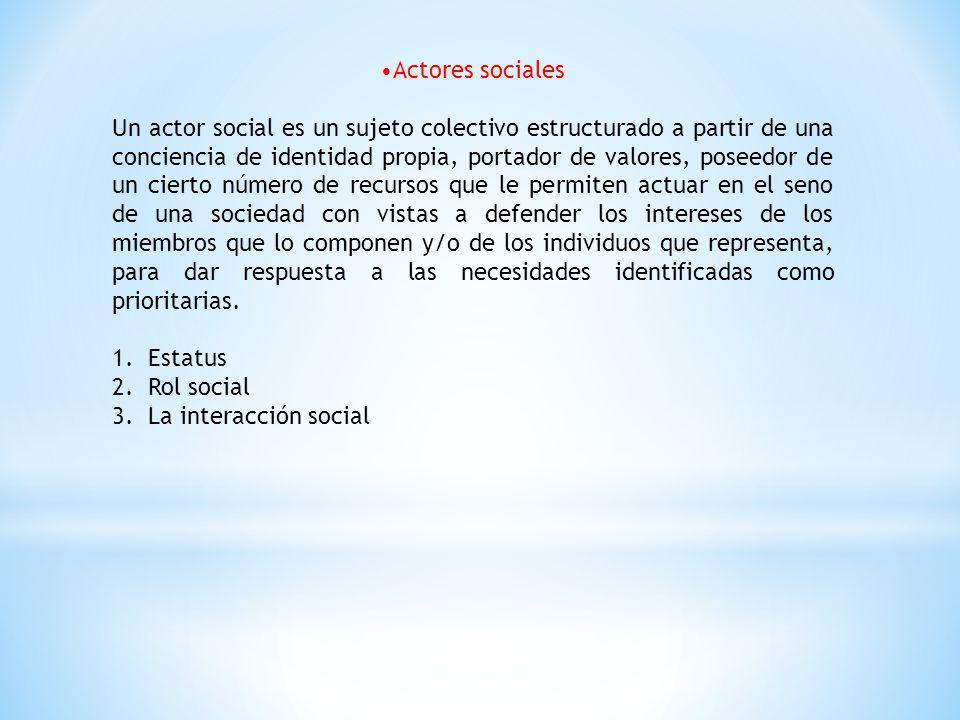 Actores sociales Un actor social es un sujeto colectivo estructurado a partir de una conciencia de identidad propia, portador de valores, poseedor de