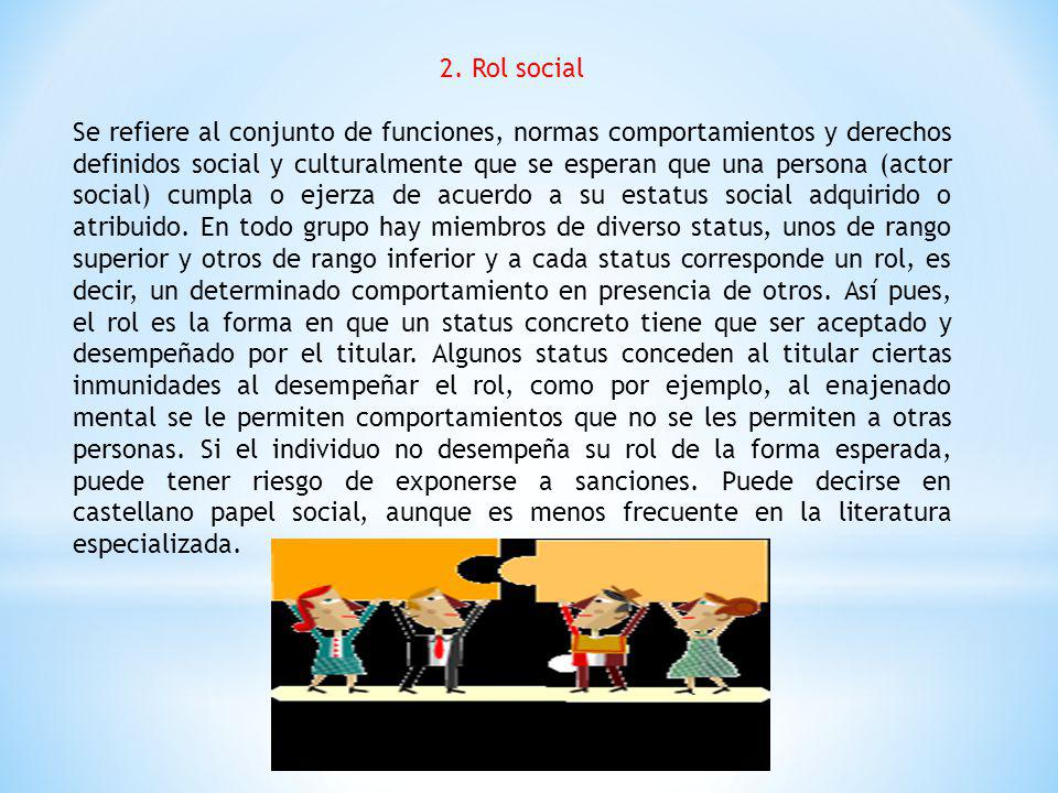 2. Rol social Se refiere al conjunto de funciones, normas comportamientos y derechos definidos social y culturalmente que se esperan que una persona (