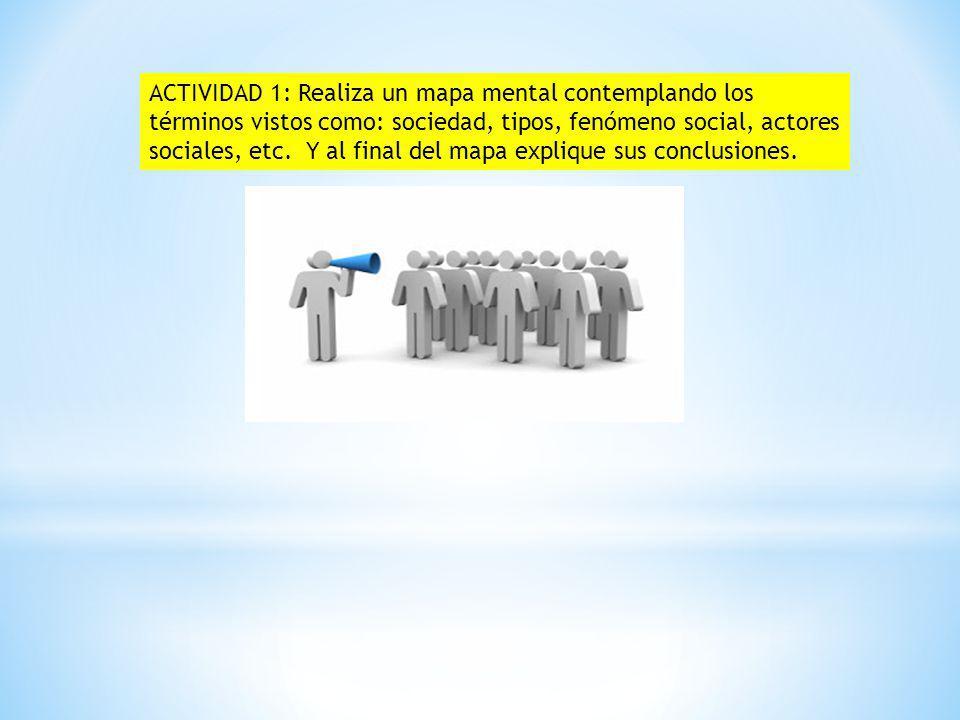 ACTIVIDAD 1: Realiza un mapa mental contemplando los términos vistos como: sociedad, tipos, fenómeno social, actores sociales, etc. Y al final del map