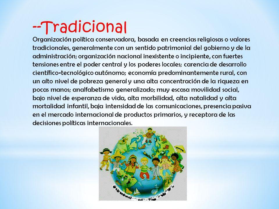 --Tradicional Organización política conservadora, basada en creencias religiosas o valores tradicionales, generalmente con un sentido patrimonial del