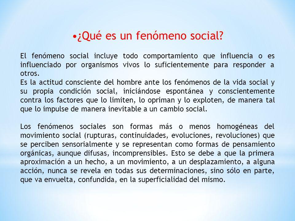 ¿Qué es un fenómeno social? El fenómeno social incluye todo comportamiento que influencia o es influenciado por organismos vivos lo suficientemente pa