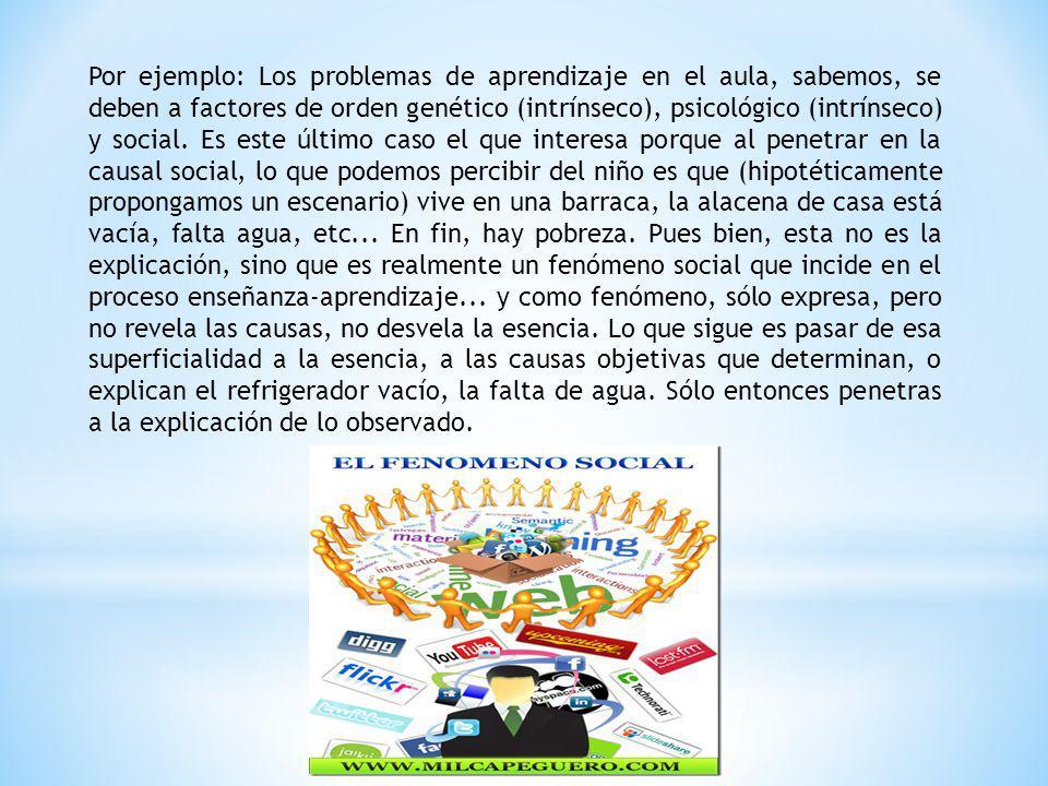 Por ejemplo: Los problemas de aprendizaje en el aula, sabemos, se deben a factores de orden genético (intrínseco), psicológico (intrínseco) y social.