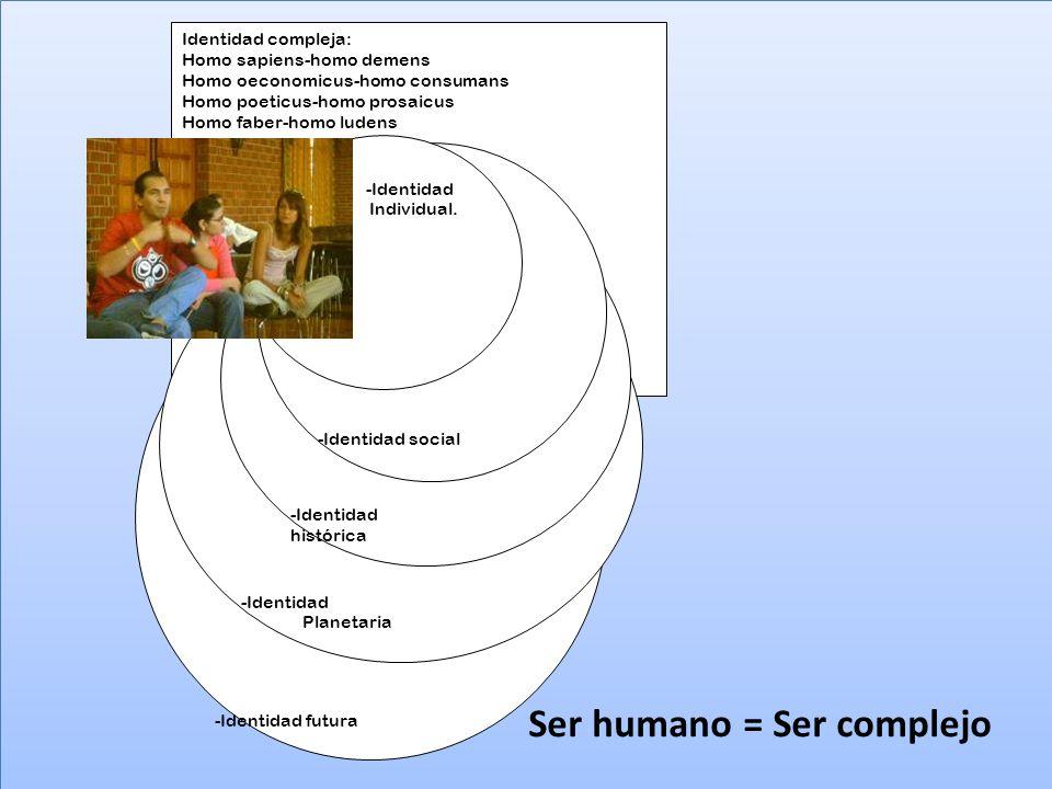 Identidad compleja: Homo sapiens-homo demens Homo oeconomicus-homo consumans Homo poeticus-homo prosaicus Homo faber-homo ludens -Identidad futura -Id