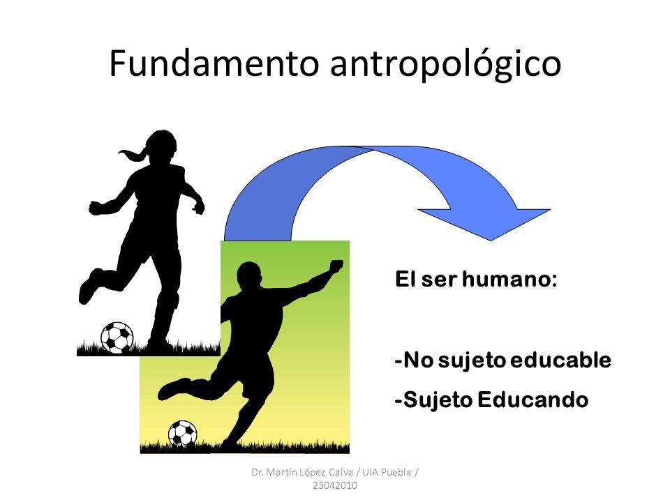 Fundamento antropológico Dr. Martín López Calva / UIA Puebla / 23042010 El ser humano: -No sujeto educable -Sujeto Educando