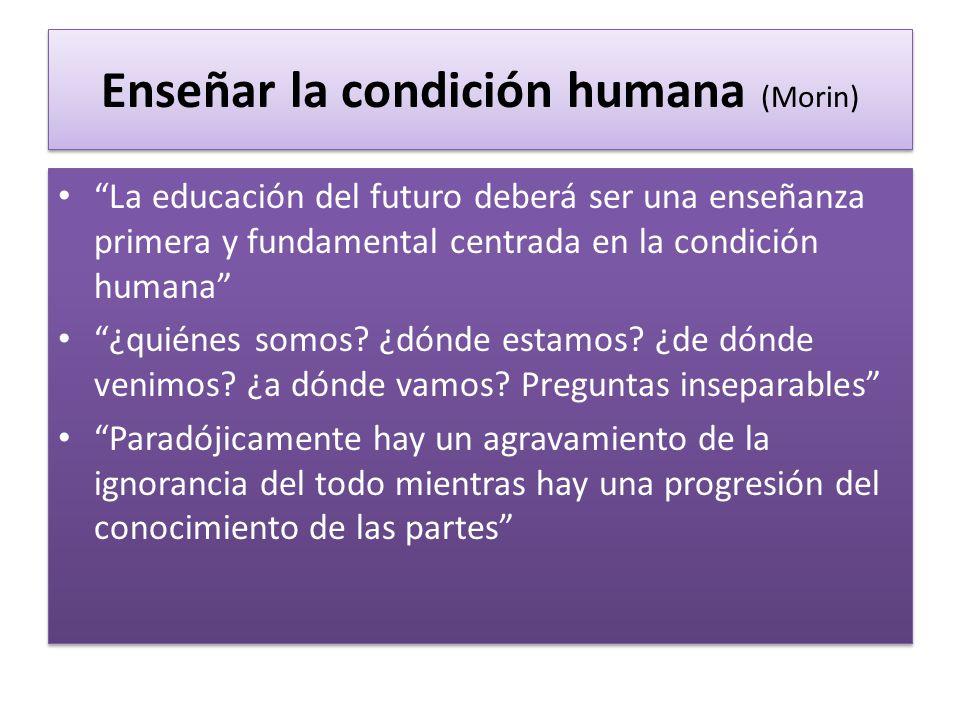 Enseñar la condición humana (Morin) La educación del futuro deberá ser una enseñanza primera y fundamental centrada en la condición humana ¿quiénes so