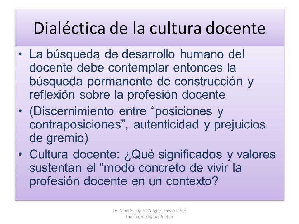 Dialéctica de la cultura docente La búsqueda de desarrollo humano del docente debe contemplar entonces la búsqueda permanente de construcción y reflex