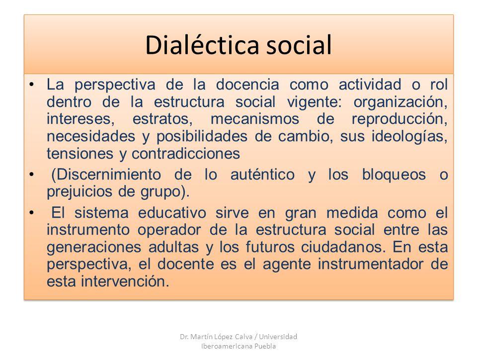 Dialéctica social La perspectiva de la docencia como actividad o rol dentro de la estructura social vigente: organización, intereses, estratos, mecani