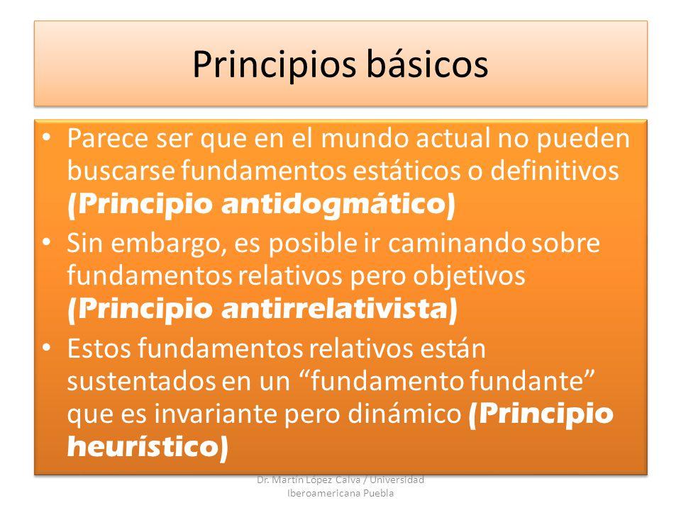 Principios básicos Parece ser que en el mundo actual no pueden buscarse fundamentos estáticos o definitivos (Principio antidogmático) Sin embargo, es