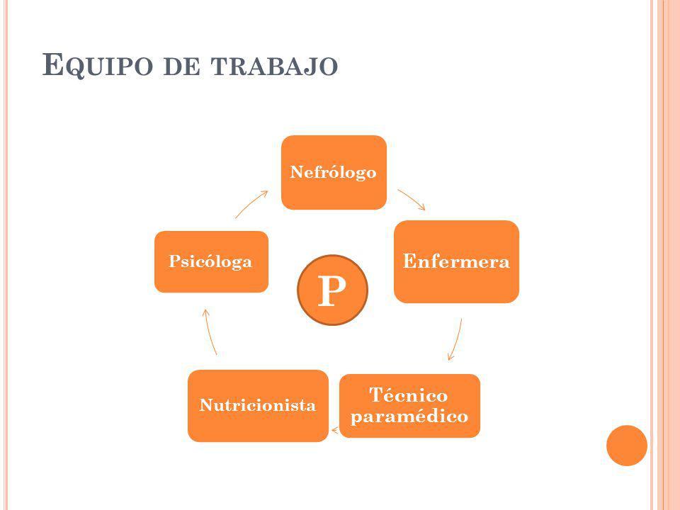 E QUIPO DE TRABAJO Nefrólogo Enfermera Técnico paramédico Nutricionista Psicóloga P