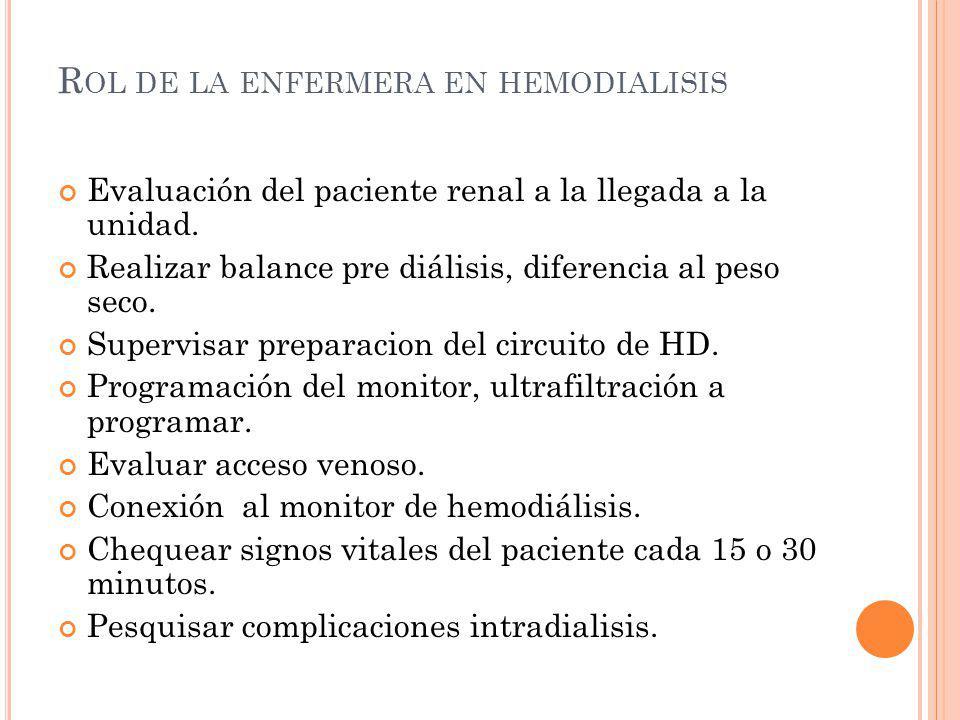 R OL DE LA ENFERMERA EN HEMODIALISIS Evaluación del paciente renal a la llegada a la unidad. Realizar balance pre diálisis, diferencia al peso seco. S