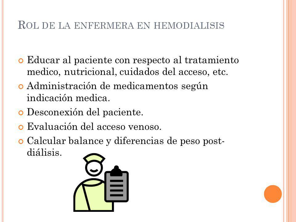 Educar al paciente con respecto al tratamiento medico, nutricional, cuidados del acceso, etc. Administración de medicamentos según indicación medica.