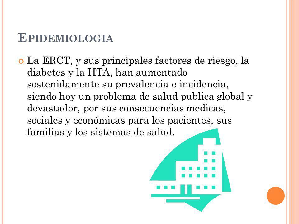 E PIDEMIOLOGIA La ERCT, y sus principales factores de riesgo, la diabetes y la HTA, han aumentado sostenidamente su prevalencia e incidencia, siendo h