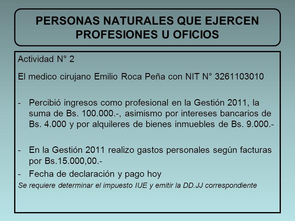 Actividad N° 2 El medico cirujano Emilio Roca Peña con NIT N° 3261103010 -Percibió ingresos como profesional en la Gestión 2011, la suma de Bs. 100.00