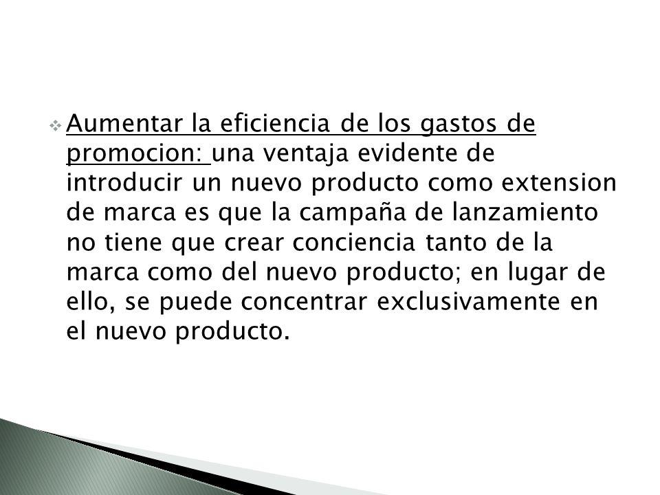Aumentar la eficiencia de los gastos de promocion: una ventaja evidente de introducir un nuevo producto como extension de marca es que la campaña de lanzamiento no tiene que crear conciencia tanto de la marca como del nuevo producto; en lugar de ello, se puede concentrar exclusivamente en el nuevo producto.