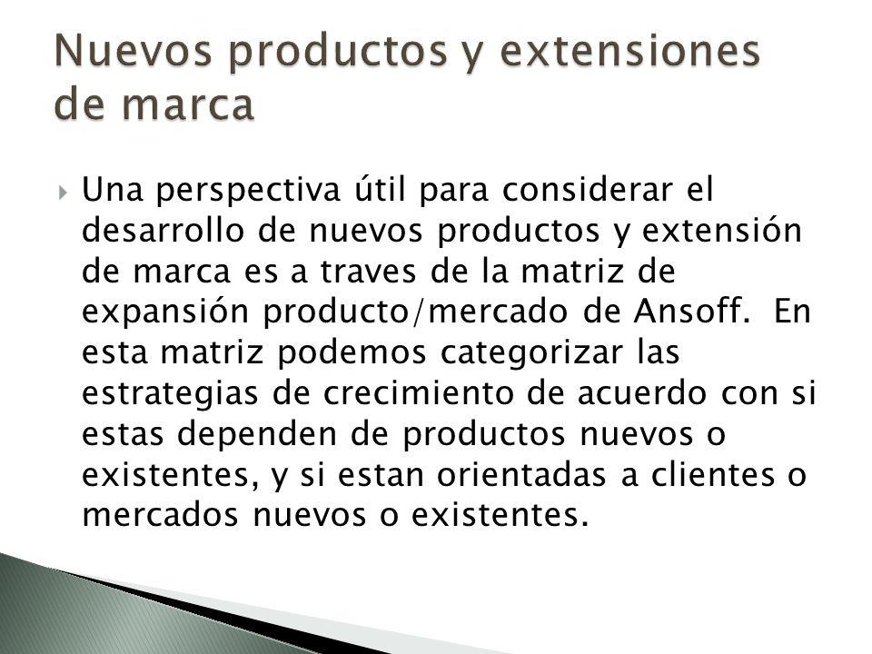 Una perspectiva útil para considerar el desarrollo de nuevos productos y extensión de marca es a traves de la matriz de expansión producto/mercado de Ansoff.