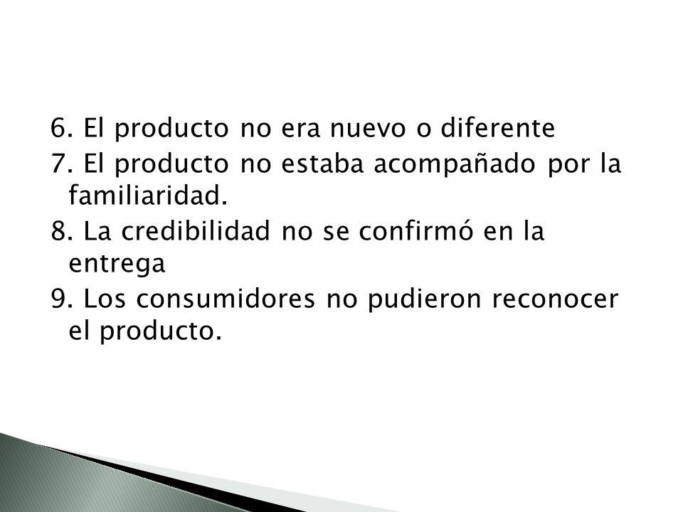 6.El producto no era nuevo o diferente 7. El producto no estaba acompañado por la familiaridad.