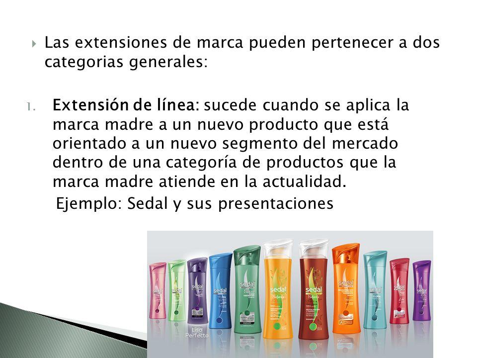 Las extensiones de marca pueden pertenecer a dos categorias generales: 1.