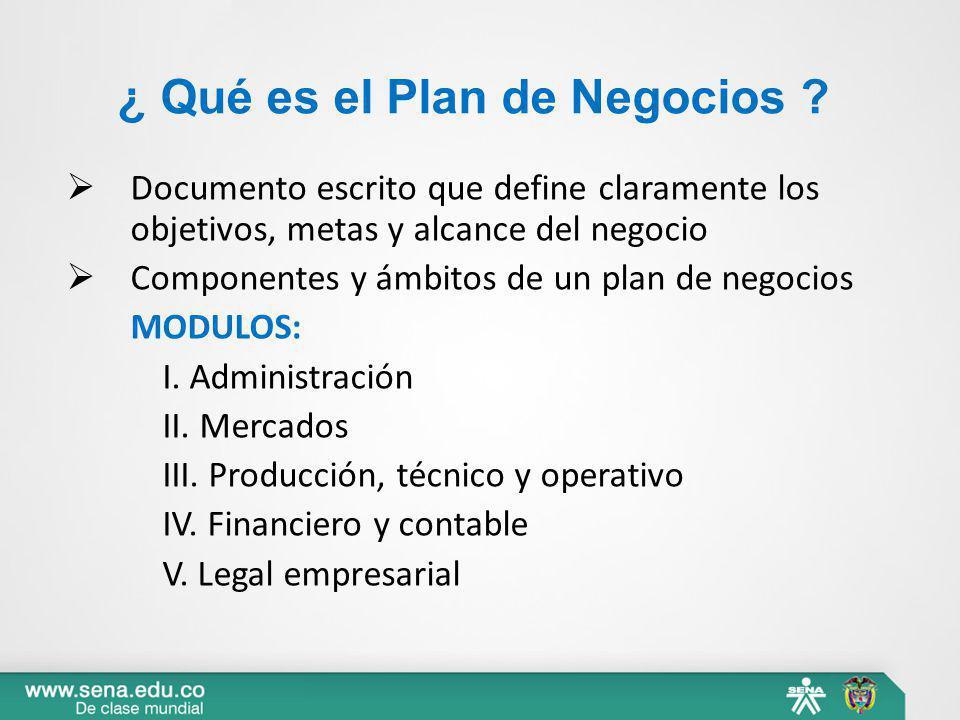 ¿ Qué es el Plan de Negocios ? Documento escrito que define claramente los objetivos, metas y alcance del negocio Componentes y ámbitos de un plan de