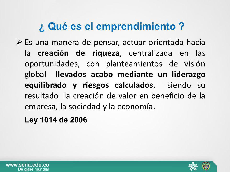 ¿ Qué es el emprendimiento ? Es una manera de pensar, actuar orientada hacia la creación de riqueza, centralizada en las oportunidades, con planteamie