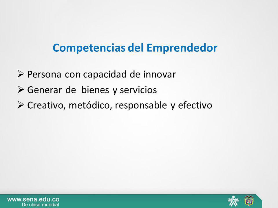 Competencias del Emprendedor Persona con capacidad de innovar Generar de bienes y servicios Creativo, metódico, responsable y efectivo