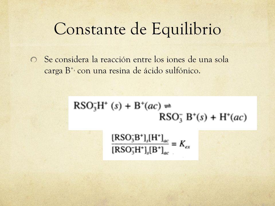 Constante de Equilibrio Se considera la reacción entre los iones de una sola carga B +, con una resina de ácido sulfónico.