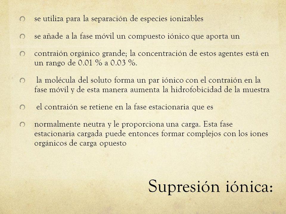 Supresión iónica: se utiliza para la separación de especies ionizables se añade a la fase móvil un compuesto iónico que aporta un contraión orgánico
