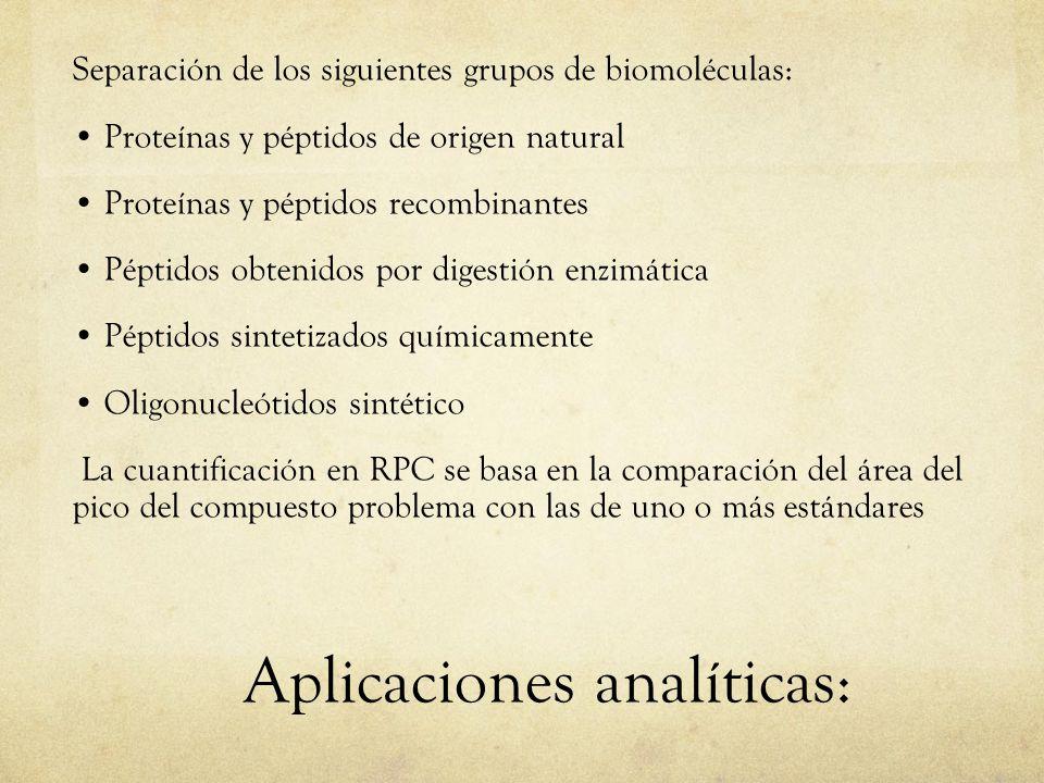 Aplicaciones analíticas: Separación de los siguientes grupos de biomoléculas: Proteínas y péptidos de origen natural Proteínas y péptidos recombinante