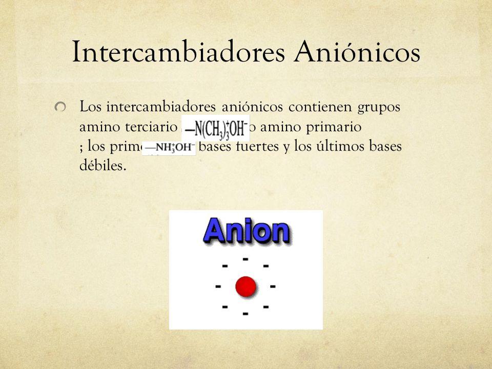 Intercambiadores Aniónicos Los intercambiadores aniónicos contienen grupos amino terciario o amino primario ; los primeros son bases fuertes y los últ