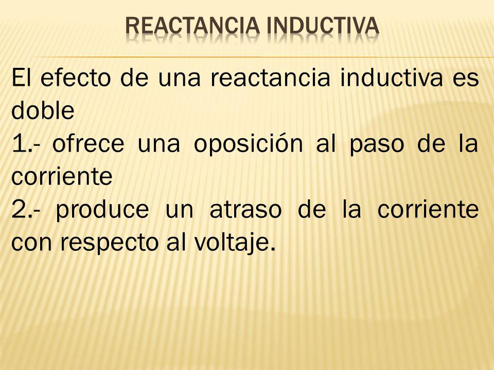 El efecto de una reactancia inductiva es doble 1.- ofrece una oposición al paso de la corriente 2.- produce un atraso de la corriente con respecto al