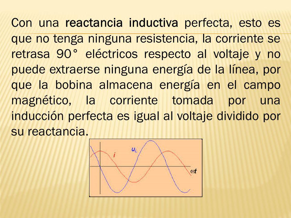 Con una reactancia inductiva perfecta, esto es que no tenga ninguna resistencia, la corriente se retrasa 90° eléctricos respecto al voltaje y no puede