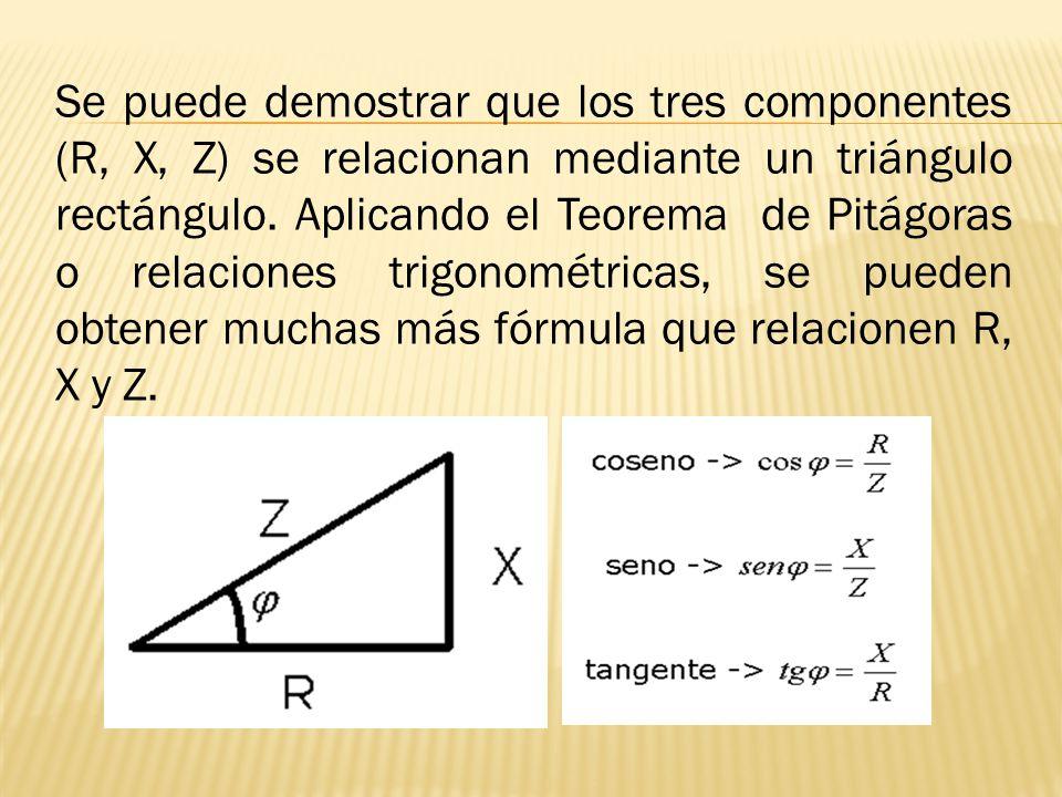Se puede demostrar que los tres componentes (R, X, Z) se relacionan mediante un triángulo rectángulo. Aplicando el Teorema de Pitágoras o relaciones t
