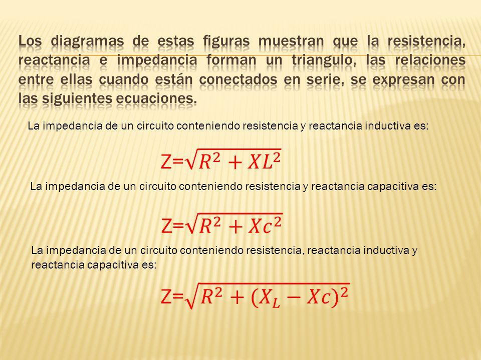 La impedancia de un circuito conteniendo resistencia y reactancia inductiva es: La impedancia de un circuito conteniendo resistencia y reactancia capa