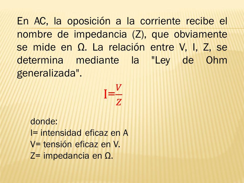 En AC, la oposición a la corriente recibe el nombre de impedancia (Z), que obviamente se mide en Ω. La relación entre V, I, Z, se determina mediante l