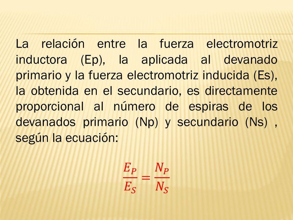 La relación entre la fuerza electromotriz inductora (Ep), la aplicada al devanado primario y la fuerza electromotriz inducida (Es), la obtenida en el