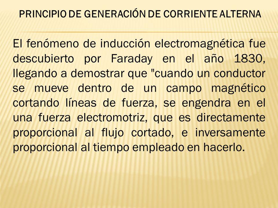 El fenómeno de inducción electromagnética fue descubierto por Faraday en el año 1830, llegando a demostrar que