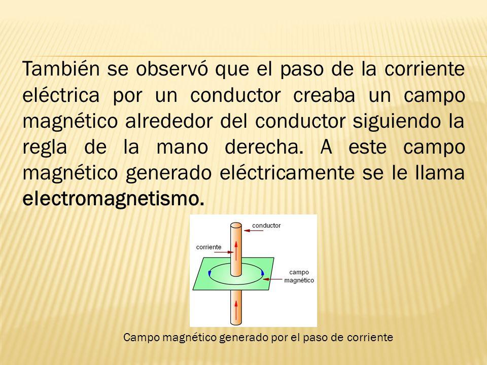 También se observó que el paso de la corriente eléctrica por un conductor creaba un campo magnético alrededor del conductor siguiendo la regla de la mano derecha.