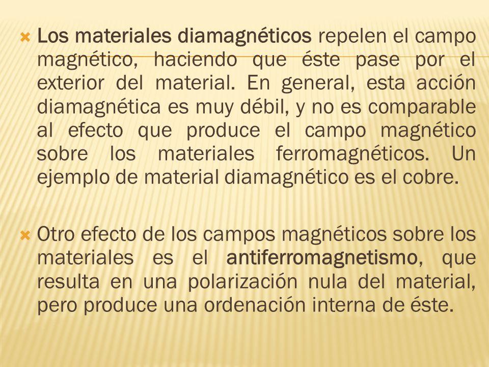 Los materiales diamagnéticos repelen el campo magnético, haciendo que éste pase por el exterior del material.
