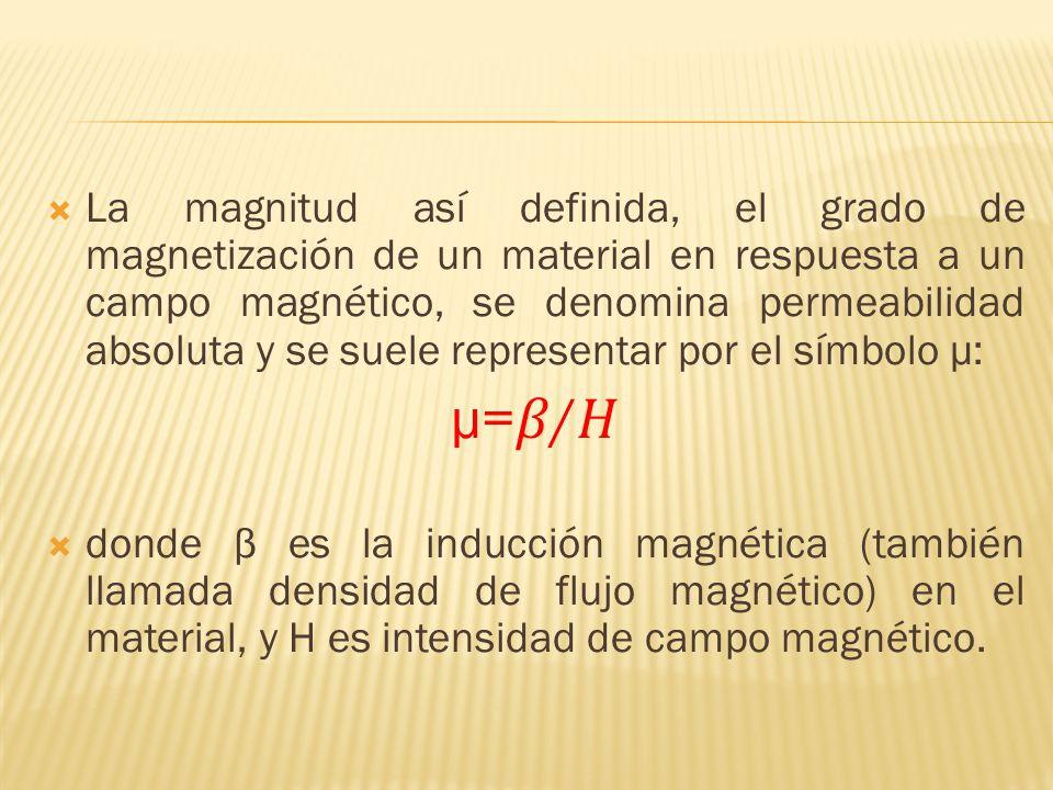 La magnitud así definida, el grado de magnetización de un material en respuesta a un campo magnético, se denomina permeabilidad absoluta y se suele representar por el símbolo μ: µ=/ donde β es la inducción magnética (también llamada densidad de flujo magnético) en el material, y H es intensidad de campo magnético.