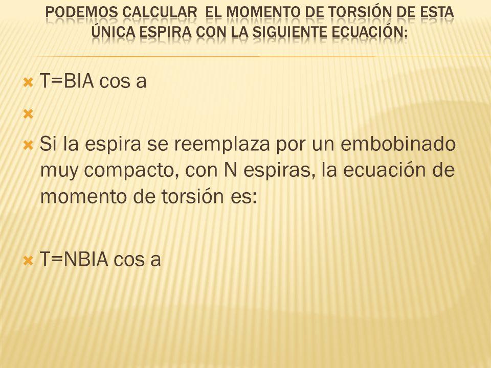 T=BIA cos a Si la espira se reemplaza por un embobinado muy compacto, con N espiras, la ecuación de momento de torsión es: T=NBIA cos a