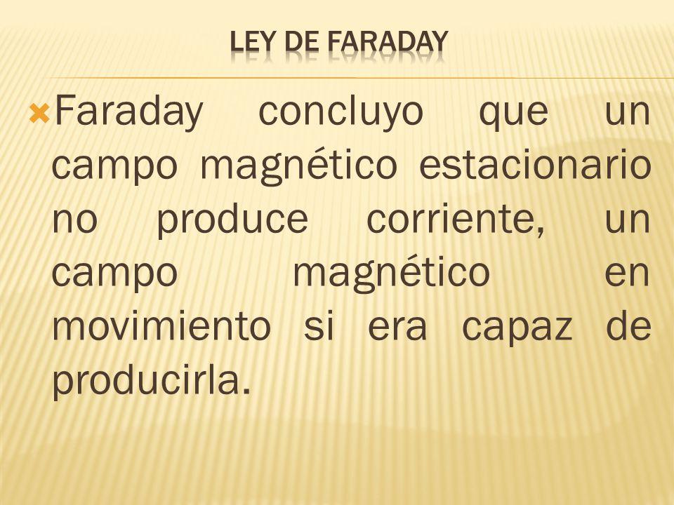 Faraday concluyo que un campo magnético estacionario no produce corriente, un campo magnético en movimiento si era capaz de producirla.