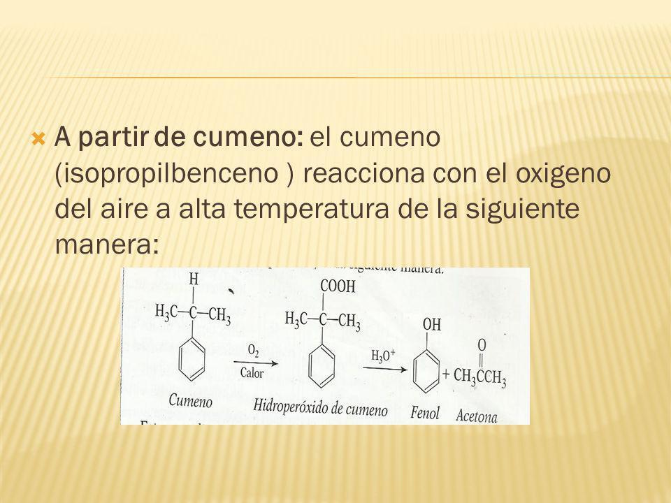 A partir de cumeno: el cumeno (isopropilbenceno ) reacciona con el oxigeno del aire a alta temperatura de la siguiente manera: